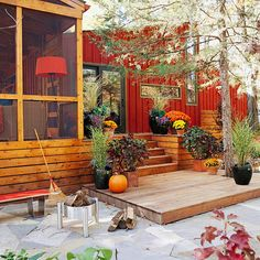 Deck Landscaping Ideas/  In a backyard full of trees, away from the house, these platform decks can be used here, separate entities for container planting/added seating,etc..