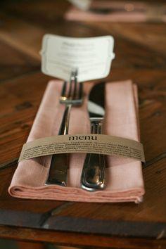 DIY Wedding Ideas: Kraft Menu Wrap (by Harmony Creative Studio), photo by Meghan Christine Photography