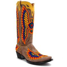 "Old Gringo 13"" Eagle Chaquira Beaded Boot in Bone at Maverick Western Wear"