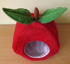 Apple with polka dots hedgehog house bed small animal guinea