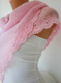 Hand Knitted Powder Pink  Shawl with lace edge Baby Pink by anils, $65.00