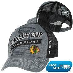 Reebok Chicago Blackhawks 2013 NHL Stanley Cup Final Champions Locker Room Adjustable Trucker Hat - Gray/Black