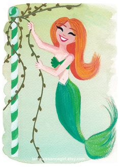 Maypole Mermaid / Mermaid Art Print / Fine Art Print Gouache