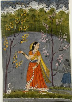A lady braving the night to keep a tryst on a night of storm, trees and snakes surrounding her, Abhisarika Nayika. Bilaspur, ca. 1840