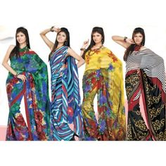 Pack Of 4 Amazing Georgette Printed Saree By Variation-VARIATION latest 2012 designer colourful Printed sarees.We have wide range of products which makes you sure that you will get the best, We have best collection in sarees,Indian sarees, Designer sarees, & fashionable sarees.