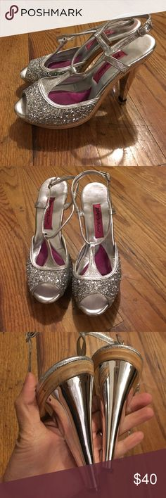 Betsey Johnson Silver Sequin Sandal Pumps Ready to part t-strap high heeled sandals. Some scuffs and wear but overall great condition. Buckles at ankle. Wood soles. Shiny silver heel. Betsey Johnson Shoes Heels