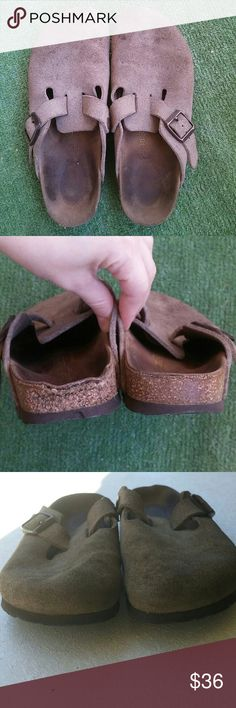 LABOR DAY SALE!! Birkenstock clogs size38 L7 M5 Very comfortable taupe suede clogs, well used, have stains and cork damage, still lot of life left. Size eu 38 us women's 7 and man's 5  Made in Germany Birkenstock  Shoes