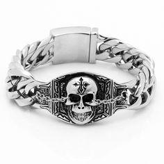 """Mens 9"""" Black Silver Stainless Steel Skull Biker Chain Bracelet Heavy Punk Gothic"""