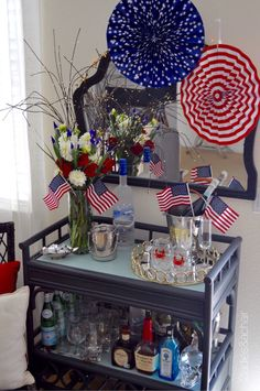 HomeGoods supplies for the July 4th holiday!!! Pulling out all the red, white, and blue! Decorate your bar cart or drink station for family and guests this July 4th. HomeGoods has the cutest glassware to help create that festive mood! Add your flags and the scene is set for a fun day full of celebration! Sponsored by HomeGoods