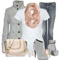 """Gray and Pink"" by jewhite76 on Polyvore OMGosh! This is BRILLIANT and SO feminine!!! Is my softer side for sure!!!"