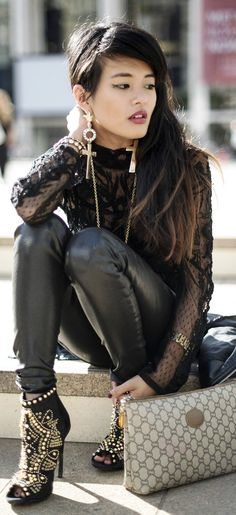 Faux leather leggings.  Leather for leggings: http://www.mjtrends.com/categories-Faux-Leather,Fabric