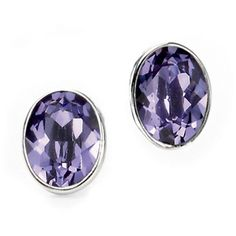 VAVOO Tanzanite Swarovski Crystal Oval Sterling Silver Stud Earrings (1.055 CZK) ❤ liked on Polyvore featuring jewelry, earrings, metallic, sparkly earrings, sterling silver jewelry, stud earrings, swarovski crystal stud earrings and tanzanite earrings