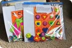 Busy bag ideas for the olders - tangrams, patterns, beading (since they won't likely eat the beads!).