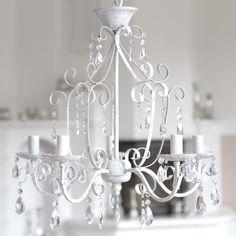 Kronleuchter SHABBY WHITE grau weiß antik shabby chic 5-armig im Landhausstil in Möbel & Wohnen, Beleuchtung, Deckenlampen & Kronleuchter | eBay!