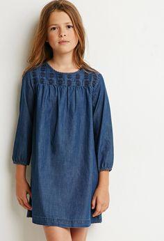 Girls Embroidered Denim Dress (Kids)