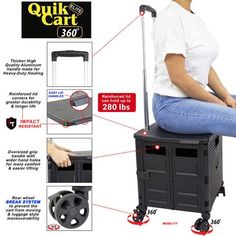 Quik Cart Elite 360 Four Wheeled Rolling Crate Teacher Utility with seat Heavy Duty Collapsible Basket with Handle, Black – dbest products, Inc. Rolling Tool Box, Rolling Utility Cart, School Supplies For Teachers, Teacher Supplies, Folding Cart, Trolley Dolly, Plastic Crates, Classroom Organization, Basket