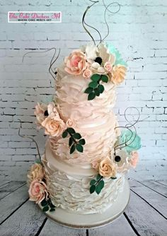 Vintage and Ruffles - Cake by Sumaiya Omar - The Cake Duchess SA Beautiful Wedding Cakes, Beautiful Cakes, Amazing Cakes, Ruffle Cake, Ruffles, Dragon Cakes, Fashion Cakes, Just Cakes, Wedding Cake Designs