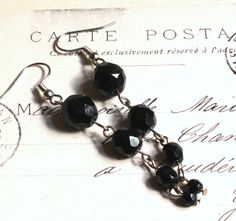 Black Crystal Earrings Classic Black Clip On by acanthusjd on Etsy, $22.00