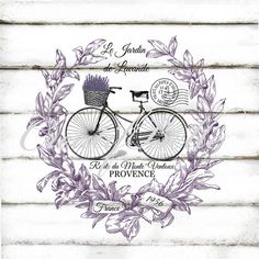 French Vintage Lavender Wreath Bicycle Large by CreatifBelle Vintage Images, French Vintage, French Chic, Lavender Wreath, Lavander, Etiquette Vintage, Ornament Tutorial, Decoupage Vintage, Vintage Labels