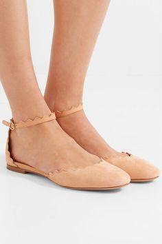 908c06e0055c54 Chloé - Lauren flache Schuhe aus Veloursleder mit Wellenkante