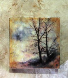 Then I applied layers of encaustic and oil pastel. It measures tall by wide by from the wall Wax Art, Encaustic Painting, Tree Art, Painting Techniques, Art Tutorials, Night, Mixed Media, Glen Keane, Anatomy Tutorial