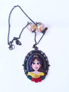 Belle gold yellow dress Cameo polymer clay