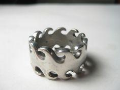 Biker Sawblade Band Ring (or could be wave peaks) - size 11.5, steel #Unbranded