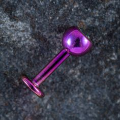 Titanium Labret Stud With Black Diamond Jewelled Ball - Purple by SCBodyJewelleryStore on Etsy