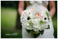 spring, spring wedding, anemones, wedding, wedding flowers, bride, roses, light pink, round bouquet, Lisa Foster