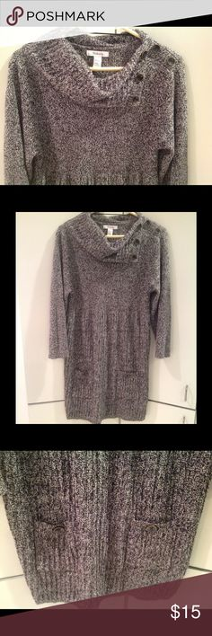 """Sweater dress excellent condition Gorgeous black and gray sweater dress.  Buttons on the left shoulder are decorative only.  Measures 19"""" across chest and 35"""" from shoulder to bottom hem.  60% cotton 40% acrylic Style & Co Dresses"""