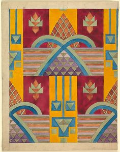 Vertical geometric pattern, textile design | Anonymous, French, ca. 1910-1919 | Charcoal, gouache and gold paint | The Metropolitan Museum of Art, New York