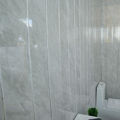 Grey Marble Bathroom Wall Panels With Chrome Silver Strips, Cladding Panels  Used In Kitchen, Office Ceiling And Walls, Perfect For Wet Walls In Shower,  Pvc ...