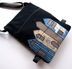 Handmade shoulder bag with applique #bag #purse #messenger #felt #applique #novelty #cotton #pouch #house #home #black #beige #blue #brown #art #architecture $50.00