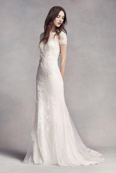 White by Vera Wang Short Sleeve Lace Wedding Dress - Davids Bridal