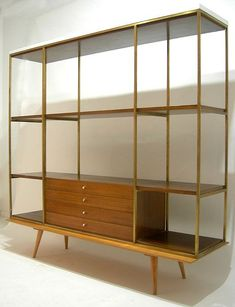 Paul McCobb,Two Piece Shelving Unit by Calvin for Planner Group, 1950s. Mid Century Modern Bookcase, Mid Century Modern Furniture, Mid Century House, Mid Century Modern Design, Modern Interior Design, Modern Decor, Mid-century Modern, 1950s Interior, Eclectic Modern
