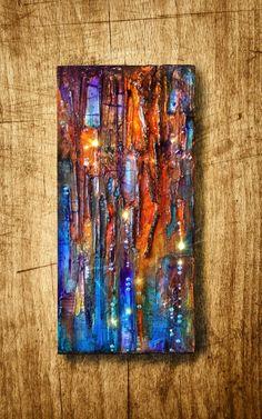 Tentés de rosée – Original mixte mur peinture d'art, verre, branches d'arbres, acrylique, petite toile, nacrées, art pariétal, bijoux, strass.