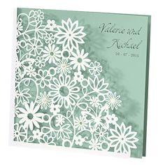 "Hochzeitseinladung ""Dalia"" in Perlmutt-Mint - weddix"