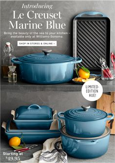 Shop Le Creuset marine blue collection for blue cookware at Williams Sonoma.