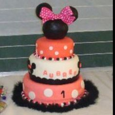 Aubrey's first birthday cake made by Mommy and Grandmom  Our first home made fondant cake