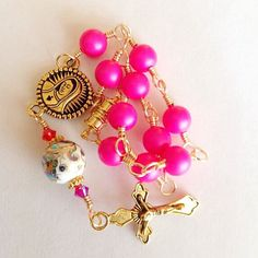 Hot Pink Car Rosary Swarovski Pearls and a Japanese Tensha Bead With Gold Finish Metals and Magnet Clasp / Pocket Rosary / Auto on Etsy, $20.00