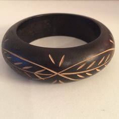 "Hand Carved Wood Leaf Bracelet Black Hand Carved Wood Leaf Design Bracelet. Width 3"". Made in India. NEW Handmade Jewelry Bracelets"