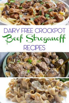 dairy free beef stroganoff crockpot recipes are proof that you can live a healthy, non-dairy life and still enjoy delicious foods you crave. Crockpot Beef Stroganoff Recipe, Stroganoff Slow Cooker, Healthy Beef Stroganoff, Crockpot Dairy Free, Healthy Crockpot Recipes, Slow Cooker Recipes, Beef Recipes, Dairy Free Pizza, Vegan Beef