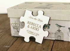 Puzzle wedding save the date magnets, eco wood magnet save the date by Oxee, vintage design