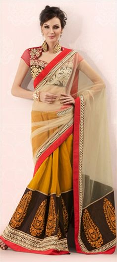 107361: #Trends2013 Bring #Seethrough effect in your saree! Wear #Net pallu for this chic look.