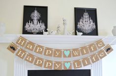 Happy Wife Happy Life Banner - Wedding Garland Happy Wife Happy Life sign Happy Decoration Rustic Decor, wedding banners, wedding gifts