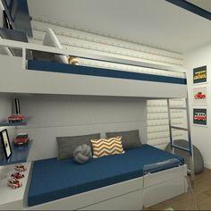 Beliche: 70 modelos perfeitos para quartos charmosos e funcionais Bed For Girls Room, Small Room Bedroom, Kids Bedroom, Bedroom Wall Designs, Bunk Bed Designs, Diy Room Decor, Bedroom Decor, Home Decor, Kids Bed Design