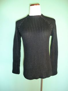 NEW COURT ONE BY GERRY WEBER BLACK & WHITE YARN RIBBED KNIT SWEATER 6