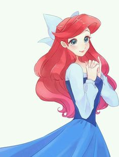 Ariel in her blue dress in Anime style Disney Pixar, Disney Marvel, Arte Disney, Disney Animation, Disney Cartoons, Disney And Dreamworks, Disney Magic, Disney Movies, Disney Princess Art