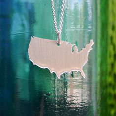 USA Pendant on 18inch Chain by cascacoumo on Etsy, $32.00