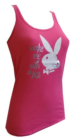 Playboy Bunny Wake Me With A Kiss Hot Pink Ribbed Tank  Who wouldn't want to be awoken with kisses? These 100% cotton pink ribbed tanks for women feature a large graphic of the classic Playboy Bunny logo with a silver foil kiss and wording in silver foil stating 'Wake Me With A Kiss'. Long length, classic styling, and a bit of stretch make this tank a sure winner. Junior cut. $13.50